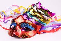 Маска венецианская карнавальная модель №3 на завязках, в упаковке 6 расцветок по 2 штуки, 12 штук