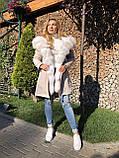 Молочна куртка парку з натуральним хутром арктичної лисиці на капюшоні, фото 10