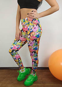 Женские спортивные лосины с цветным принтом для фитнеса 42-48 р