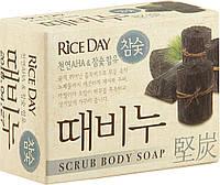 Мыло-скраб для тела древесный уголь Lion Riceday, 100 гр