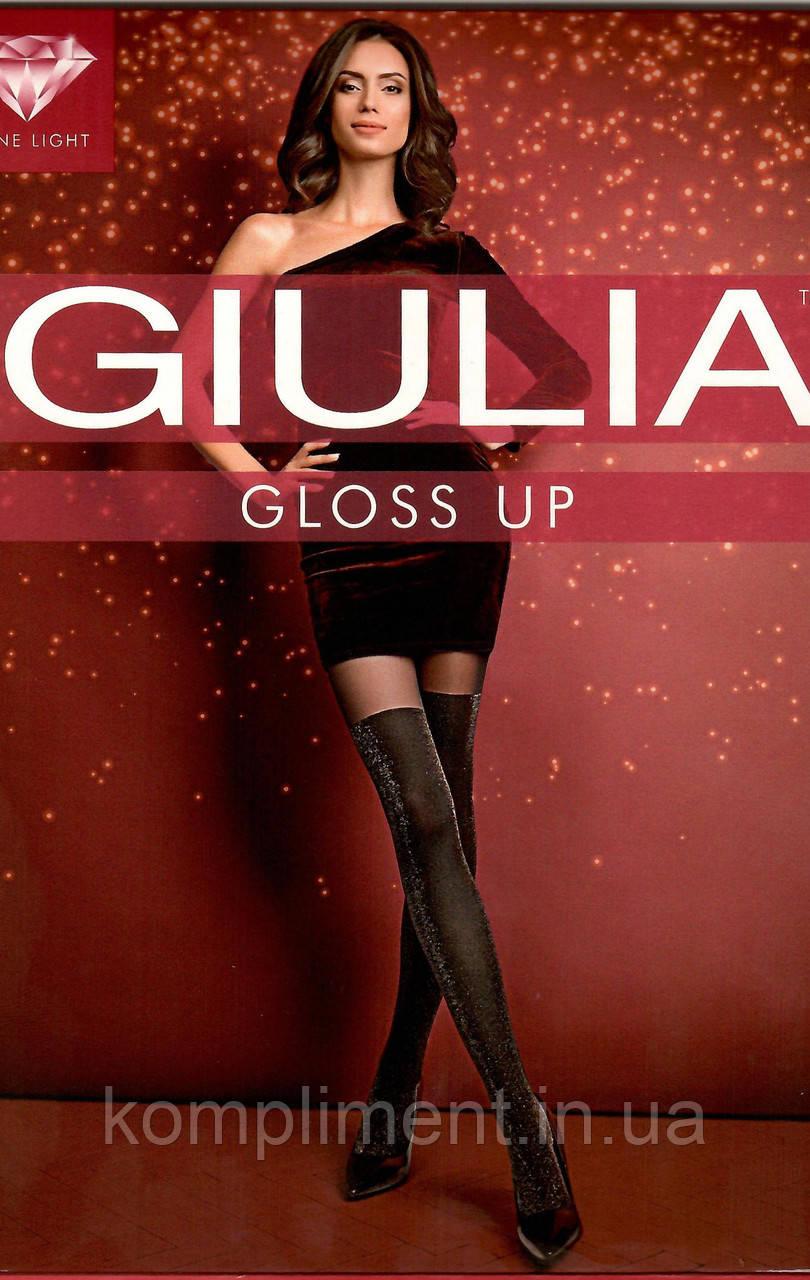 Модные колготки с имитацией чулка и люрексом GIULIA  GLOSS UP 60