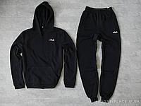 Мужской спортивный костюм Fila черный (ЗИМА) с начесом , толстовка маленькая эмблема, штаны реплика