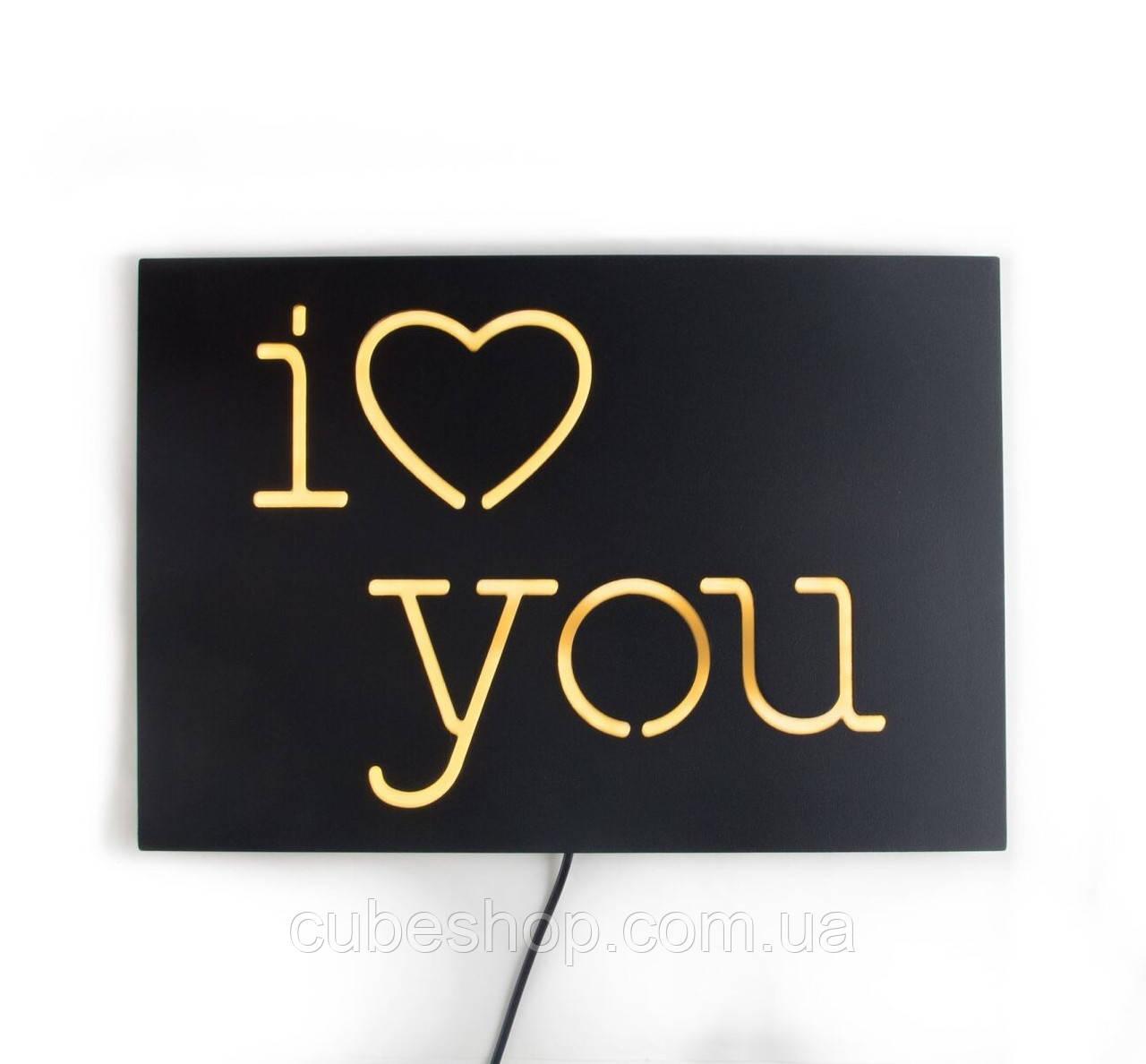 Настенная Led вывеска «I love you»
