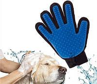 Перчатка, щетка, массажер для вычесывания шерсти True Touch GTM Original Черно-синяя