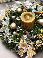 Рождественский веночек с гирляндой от батареек «Нежность зимы», фото 1