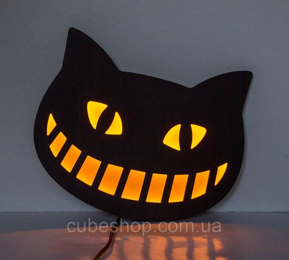 Светящийся декор на стену LED вывеска «Чеширский кот»