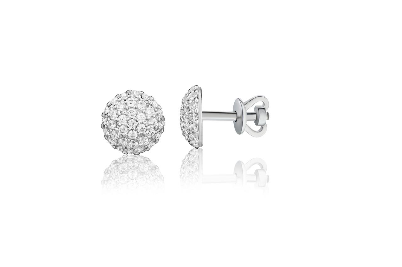 Серебряные серьги пусеты с россыпью фианитов  арт-929141б