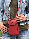 Сумка-клатч красная на ремешке с карманом для телефона, фото 2