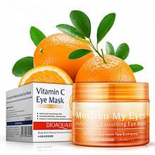 Патчи тканевые для кожи вокруг глаз с экстрактом апельсина  и зеленого чая BIOAQUA Vitamin C eye mask (патчи),
