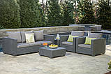 Набор садовой мебели Salta 3-Seater Sofa Set Graphite ( графит ) из искусственного ротанга (Allibert by Keter), фото 3