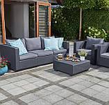 Набор садовой мебели Salta 3-Seater Sofa Set Graphite ( графит ) из искусственного ротанга (Allibert by Keter), фото 7