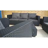 Набор садовой мебели Salta 3-Seater Sofa Set Graphite ( графит ) из искусственного ротанга (Allibert by Keter), фото 8
