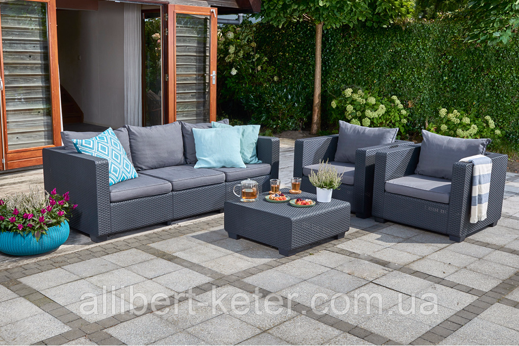 Набор садовой мебели Salta 3-Seater Sofa Set Graphite ( графит ) из искусственного ротанга (Allibert by Keter)