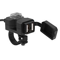 USB мото зарядка на кермо, 2 х USB, 12-24 V WUPP, + кріплення під болт