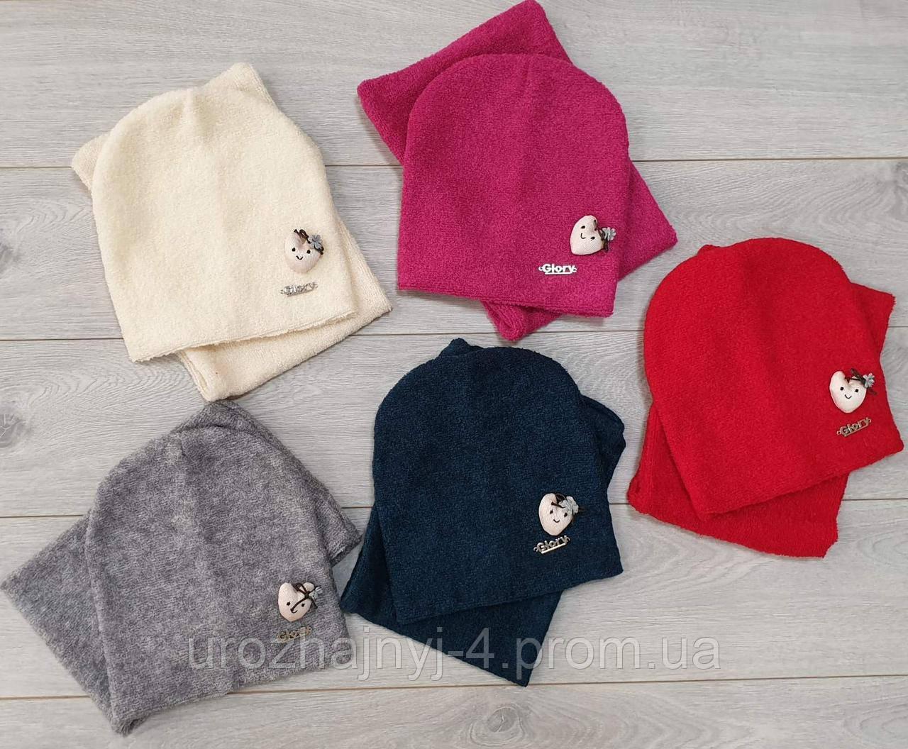 Трикотажный набор шапка и хомут подкладка флис р50-52