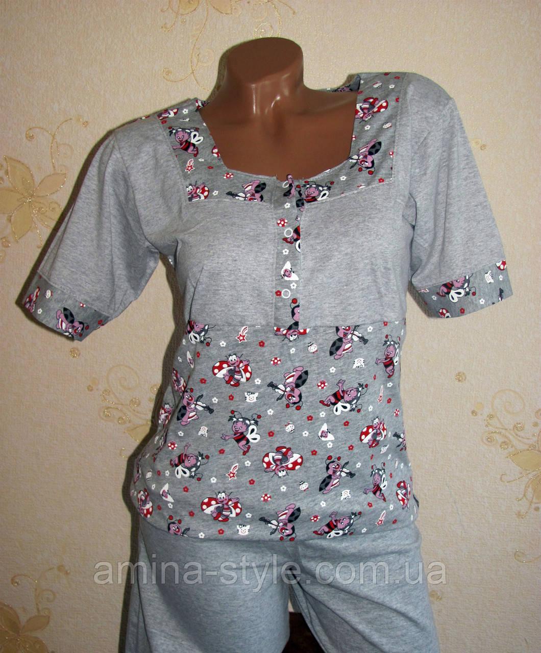 Домашний женский комплект с бриджами, размер 44-46, хлопок