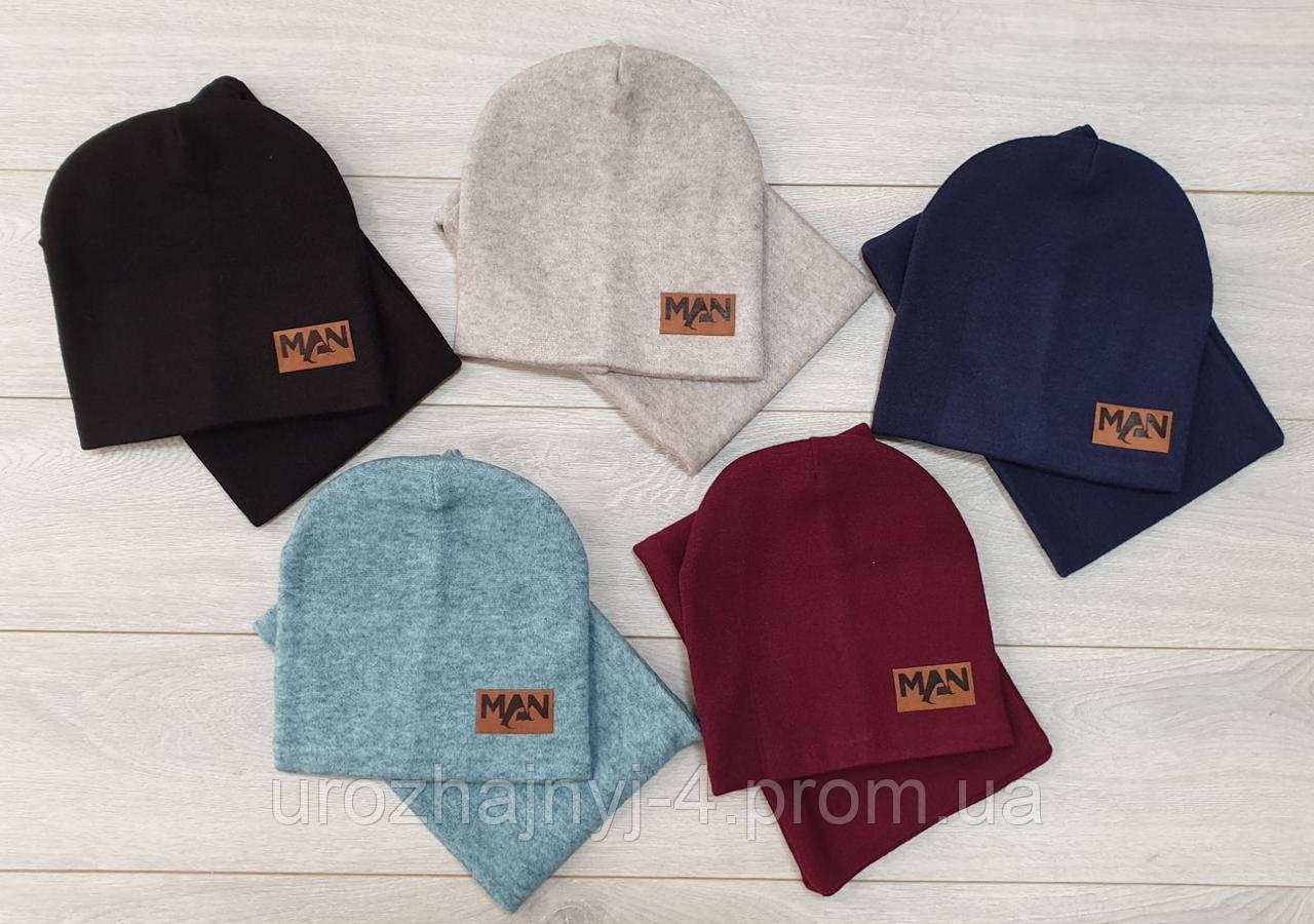 Трикотажный комплект шапка и снуд подкладка флис р52-54
