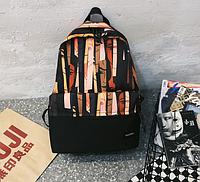 Рюкзак чорний з узором, фото 1