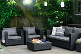 Набор садовой мебели Salta 3-Seater Sofa Set Graphite ( графит ) из искусственного ротанга (Allibert by Keter), фото 10