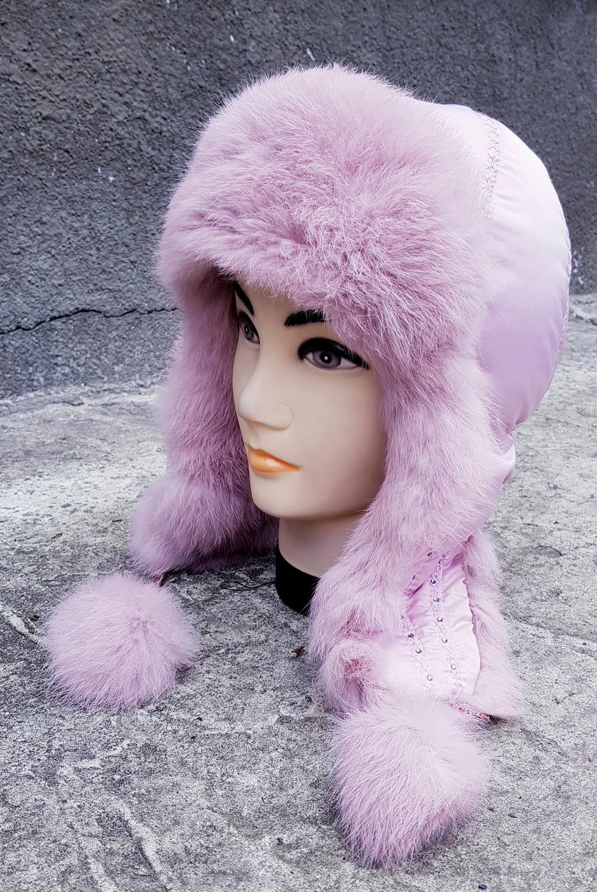 Зимняя женская шапка-ушанка Klaus Кролик на  плащевке 55-58 Розовый(017/4)