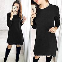 Женское платье черного цвета. Теплое женское платье из ангоры. Женская одежда