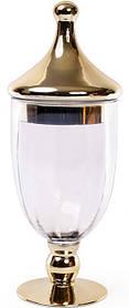 Ваза-кубок Ancient Glass d 13х35 см Стеклянная с позолотой psgBD-591-214, КОД: 944678