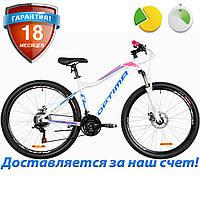 """Алюминиевый женский велосипед горный 27.5"""" Optimabikes ALPINA DD 2019 (бело-розовый с голубым)"""