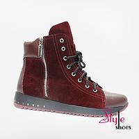 Стильные ботинки женские из бордовой кожи, фото 1