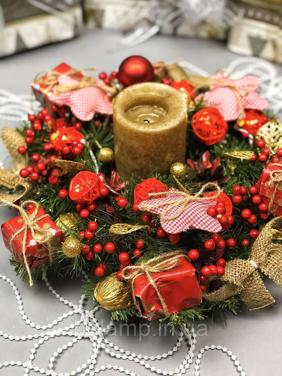 Рождественский венок с гирляндой на батарейках «Мягкие Звезды»