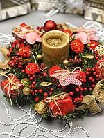 Рождественский венок с гирляндой на батарейках «Мягкие Звезды», фото 1