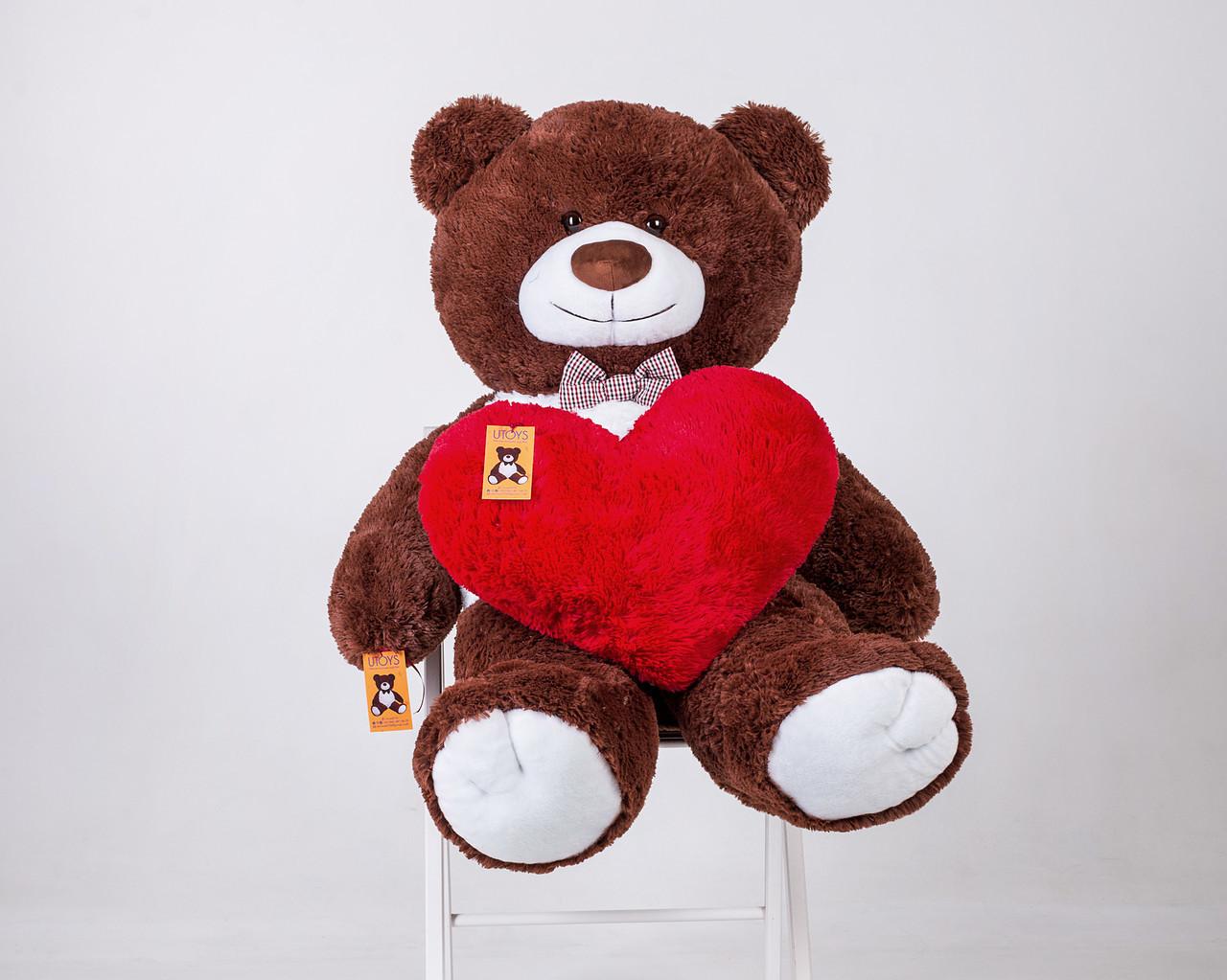 Плюшевый мишка Бенжамин с сердцем шоколадный 135 см
