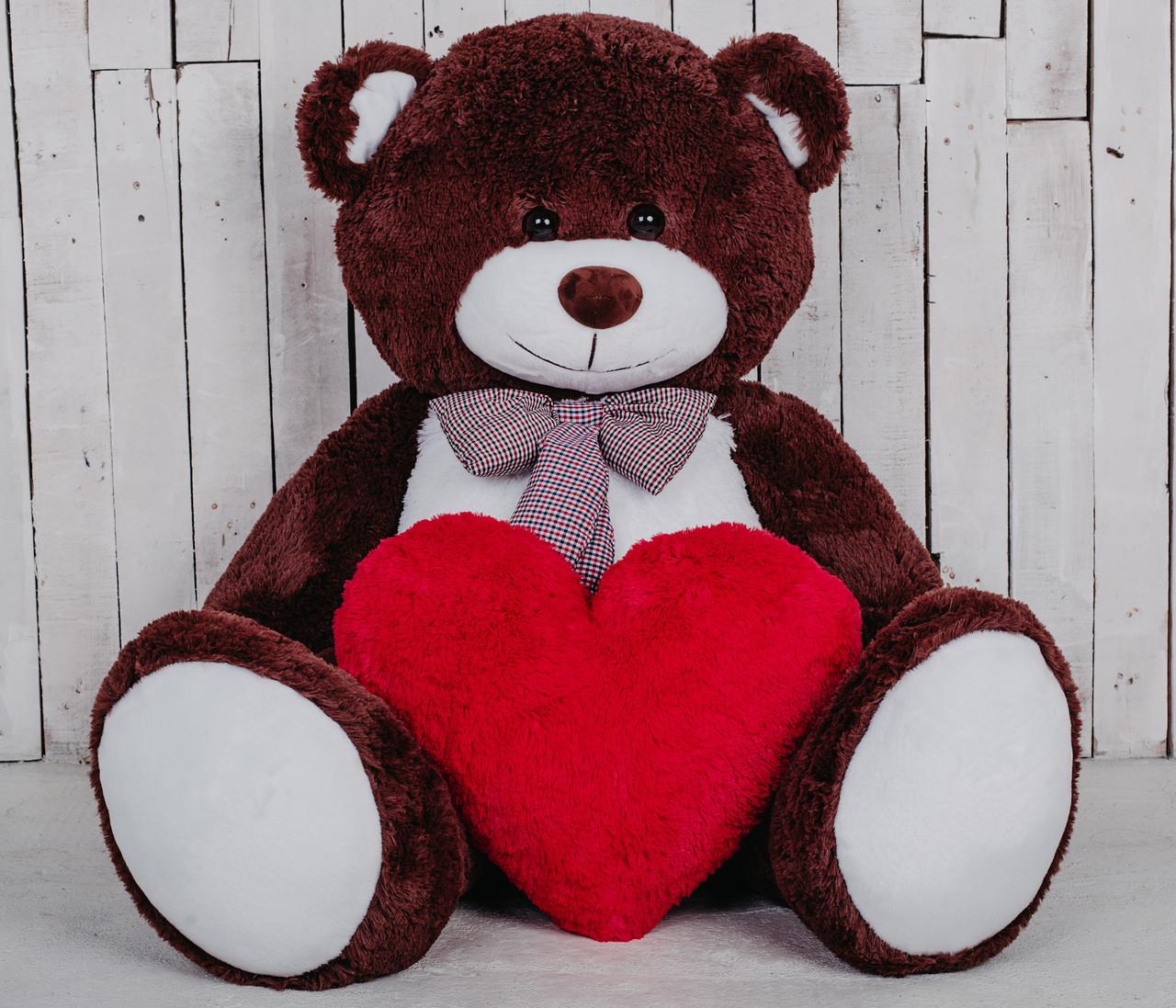 Большой мягкий мишка с сердцем Билли шоколадный 150 см