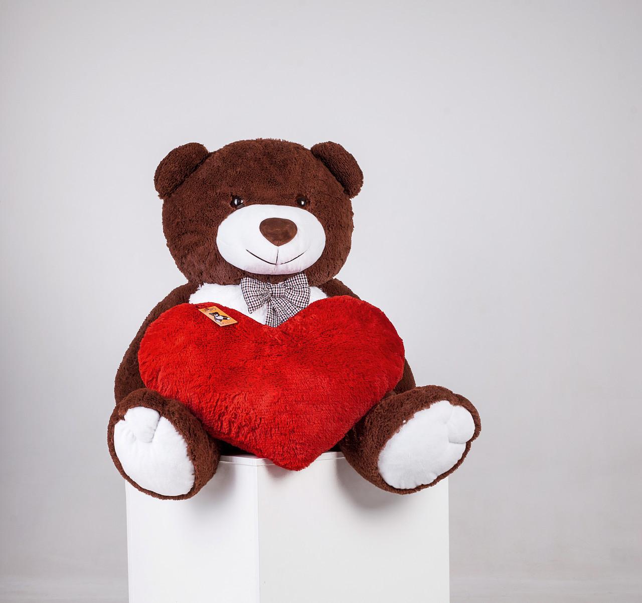 Большой плюшевый медведь Джеральд шоколад + сердце 165/50 см