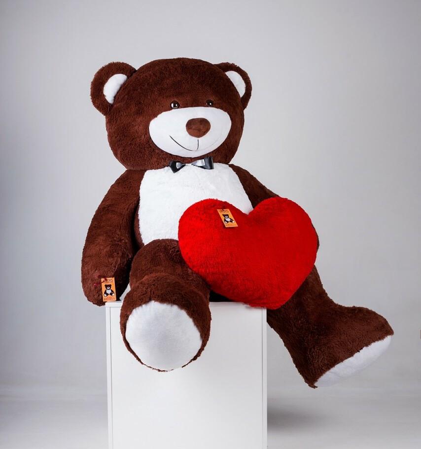 Большой плюшевый мишка с сердцем Ричард Шоколадный 200 см