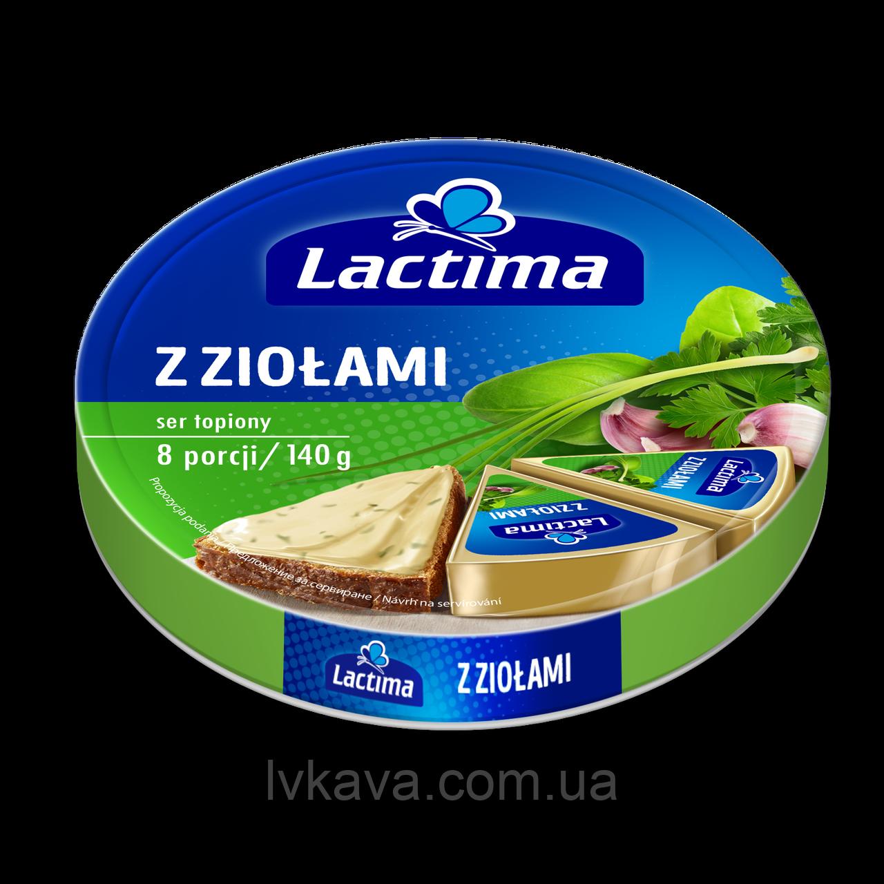 Сыр  плавленный с зеленью Lactima  , 140 гр