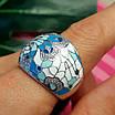 Роскошное серебряное кольцо с голубой и белой эмалью - Кольцо с эмалью серебро, фото 3