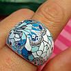 Роскошное серебряное кольцо с голубой и белой эмалью - Кольцо с эмалью серебро, фото 2