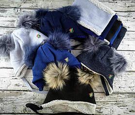 Комплект для хлопчиків Шапка+хомут Розмір 50-52 З помпоном 2378(50-52) Vertex Україна