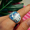 Роскошное серебряное кольцо с голубой и белой эмалью - Кольцо с эмалью серебро, фото 7