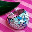 Роскошное серебряное кольцо с голубой и белой эмалью - Кольцо с эмалью серебро, фото 6