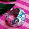 Роскошное серебряное кольцо с голубой и белой эмалью - Кольцо с эмалью серебро, фото 4