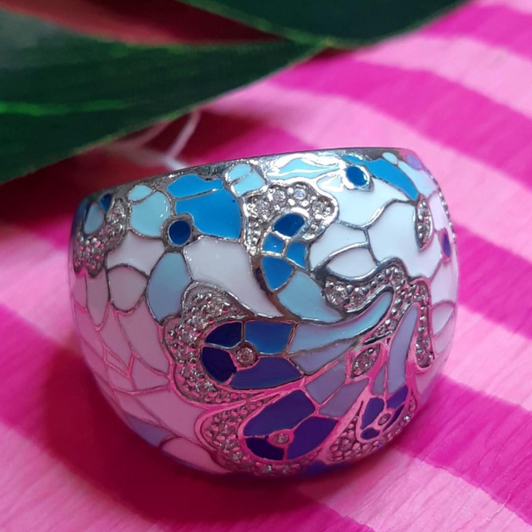 Роскошное серебряное кольцо с голубой и белой эмалью - Кольцо с эмалью серебро