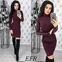 Женское приталенное платье. Платье с длинным рукавом. Платье гольф бордового цвета. Женская одежда