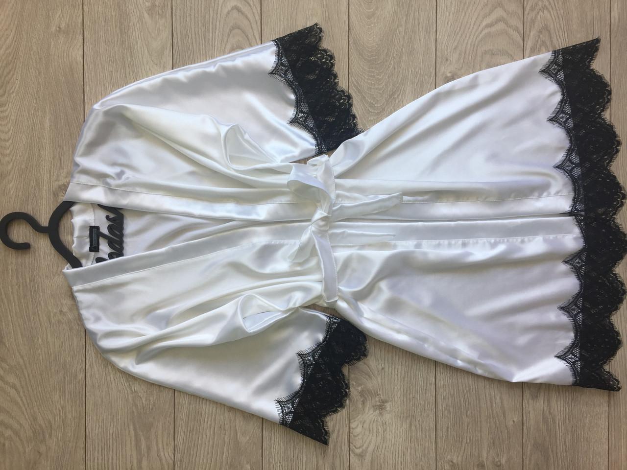 Женский атласный халат с поясом