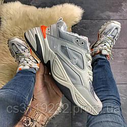 Женские кроссовки зимние Nike M2K Tekno (мех) (серые)