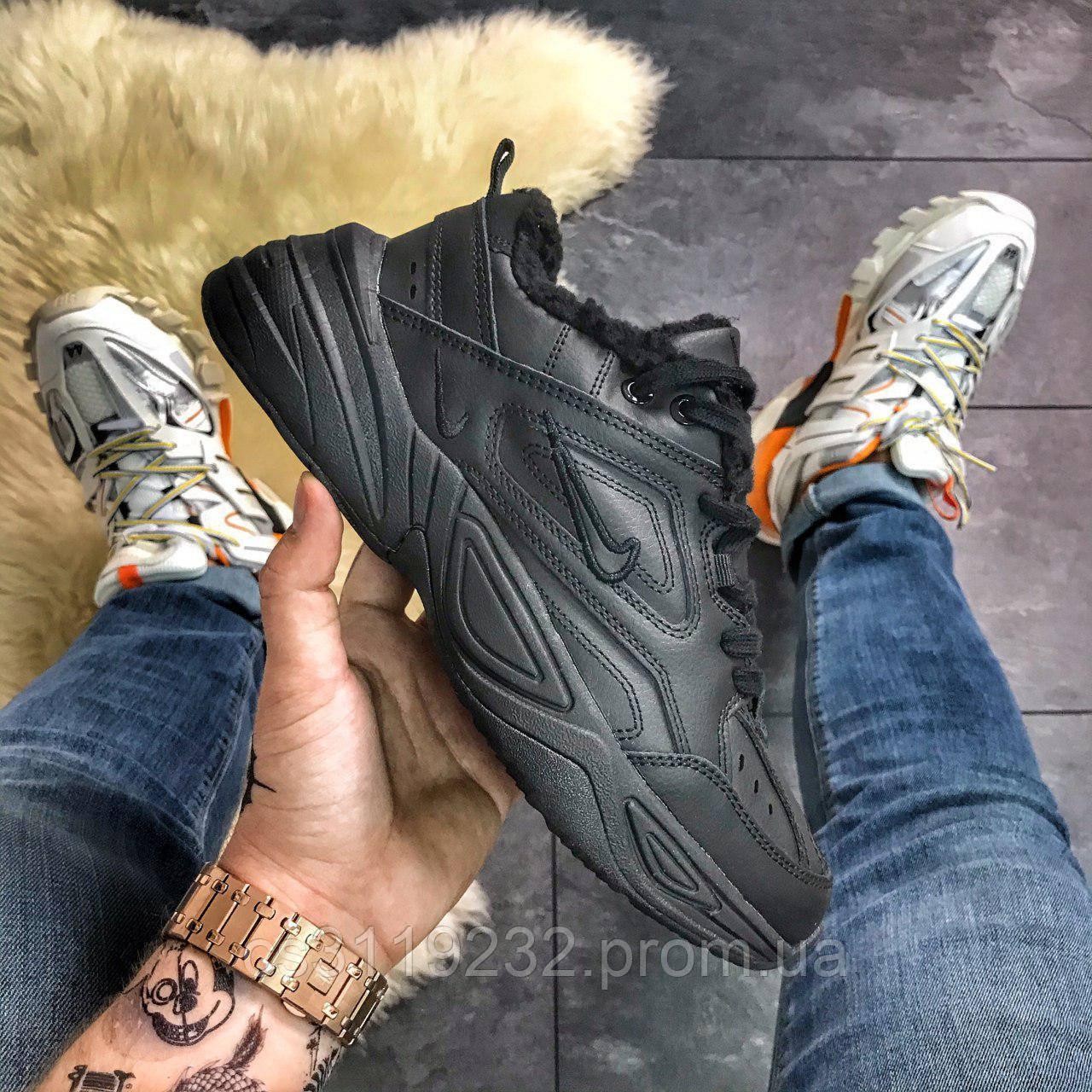 Женские кроссовки зимние Nike M2K Tekno (мех) (черные)