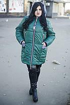 Тёплая зимняя женская куртка  со змейками по бокам  батал с 52 по 82 размер, фото 2