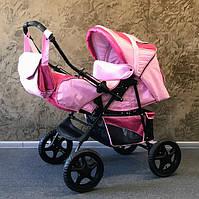 Детская коляска-трансформер Trans Baby Dolphin, малиновый+св.розовый