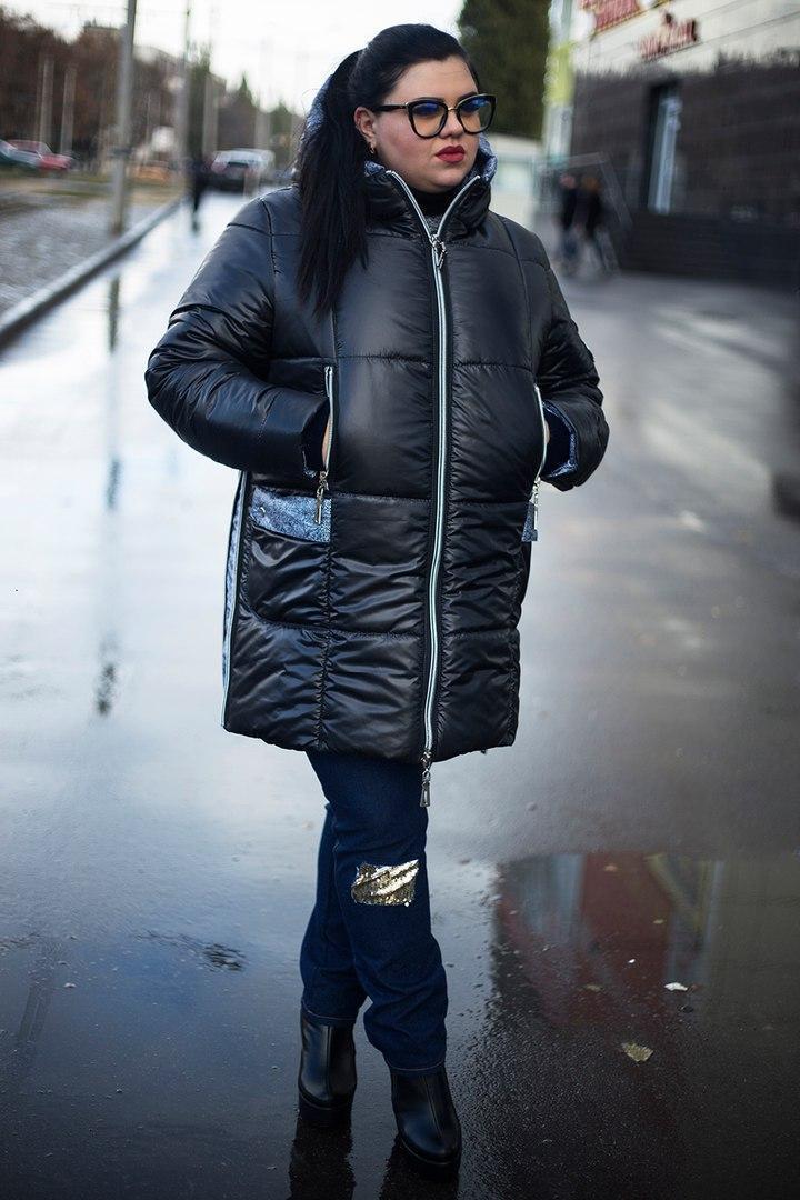 Стильная  зимняя женская куртка  со змейками по бокам  батал с 52 по 82 размер