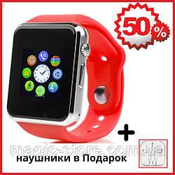Смарт часы с камерой Умные часы Smart Watch Turbo A1 в стиле Apple watch Red (красный)